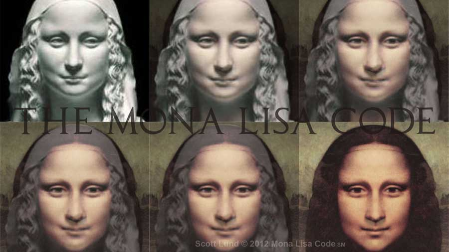 Mona Lisa face morph from stone to painting.