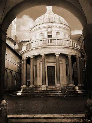 Together with the Mona Lisa, the Tempietto of Bramante created a join project to express the religious doctrine of the 'Two Faces of the Soul'