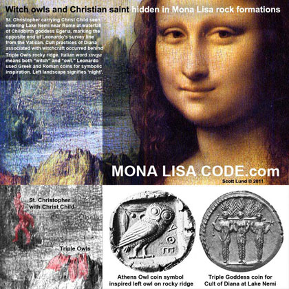 Witch owls and Christian saint hidden in Mona Lisa rock formations